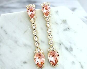 Bridal Earrings, Bridal Blush Earrings, Blush Pink Chandelier Earrings, Dusty Pink LONG, Bridal Blush Chandelier Earrings, Bridal Jewelry