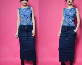 Vintage 90's Jean Maxi Skirt / Denim Maxi Skirt / Blue Denim Skirt - Size Small