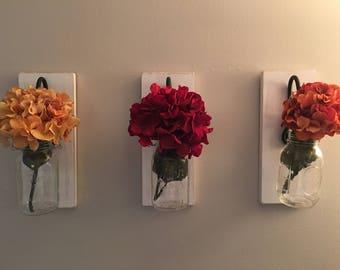 Mason Jar Flower Holders - Wall Decor