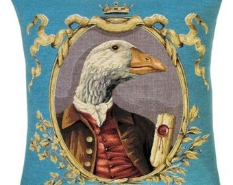 belgian tapestry cushion throw pillow cover goose dressed as nobleman jacquard woven