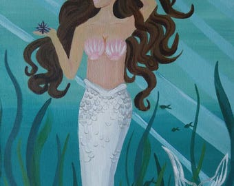 Brunette Mermaid with Silver White Tail Sea Goddess Acrylic painting