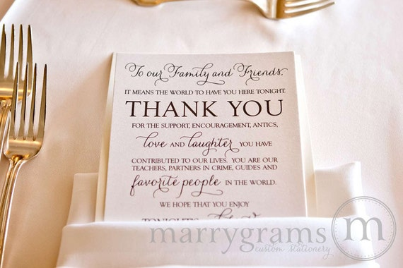 Thank You Letters For Wedding Gifts: Wedding Reception Thank You Card To Your Guests To Our