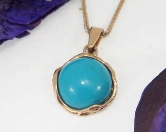 Turquoise Necklace, 14K Gold Pendant, Gemstone Necklace, Turquoise Jewelry, Vintage Necklace, Vintage Pendant, Round Pendant, Dainty Pendant