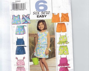 Girls Sewing Pattern Butterick 3832 Girls Easy Top Skort Shorts Size 6 7 8   UNCUT