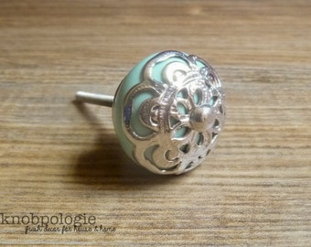 """1.5"""" Mint Green Ceramic Knob with Silver Filigree Overlay - Seamist Seafoam Blue Drawer Pull - Shabby Chic Home Decor - Beach Theme Country"""