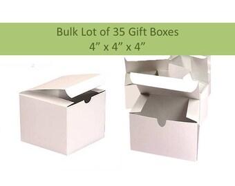 35 White Gift Boxes, 35 Favor Boxes 4 x 4 Cube Boxes for Soaps Wedding Favor Boxes Baptism Favor Boxes Mason Jar Favor Box Party Favor Boxes