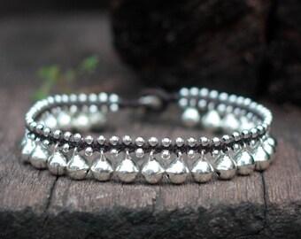 Silver Bell Anklet, Silver Bell Hippie Women Wedding Ankle Bracelet