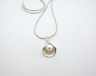 Lily Petal Necklace Silver Necklace Pearl Drop Necklace Pearl Necklace  Flower Necklace Lily Necklace  Calla Lily Necklace Bridesmaid Gift