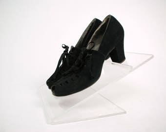 Vintage 1930s Shoes - Sporty Black Suede Cutout Peep Toe Heels with Laces and Cuban Heel Size
