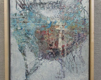 small painting, framed painting, wall artwork,original oil painting,blue,textures,nature,birds,nest, bird nest, abstract art, gray,red,white