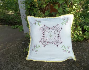 Vintage Embroidered Pillow Sham 14x14 Butterfly Pillow Handmade Crochet Border Cottage French Country
