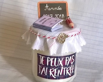 """Candle """"I can't I back"""" personalized gift back to school"""