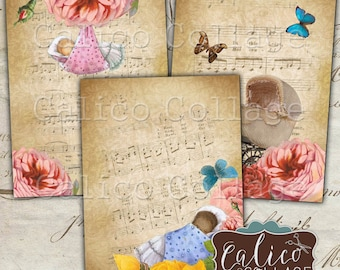 Printable Sweet Baby Digital Collage Sheet, Gift Tags, Journal Spots, Printable Ephemera, Baby Shower Cards, Greeting Cards, Junk Journal
