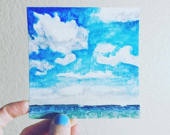 Contemplation | Tiny Cloud Painting | Watercolor Ocean & Clouds