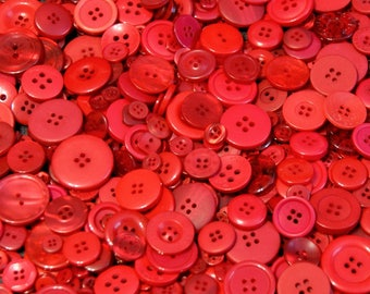 50 Buttons, Red Buttons, Cherry Red Assorted Sizes Button Mix, Sewing, Grab Bag, Crafting, Jewelry (1123)