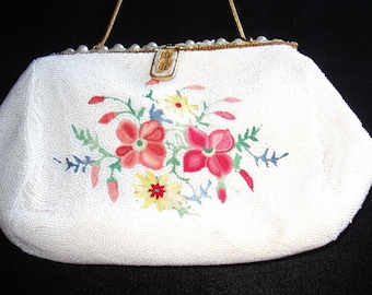 """French """"Tambour"""" Embroidered White Caviar Beaded Purse Itm #59 Purses"""