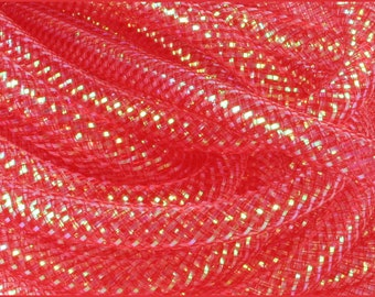 8MM Red Iridescent Foil RE300124, Flexible Tubing, Poly Mesh Supplies (10 Yards)