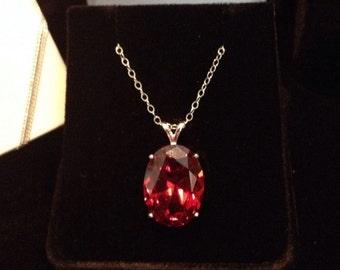 "BEAUTIFUL 12ct Orange Fire Quartz Oval Pendant Sterling Silver Necklace 18"" Gemstone Jewelry Trending Stones"
