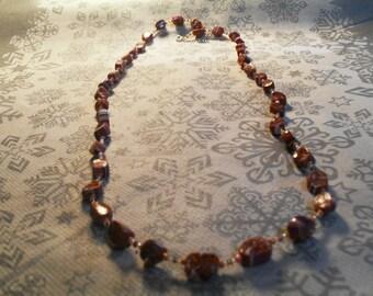 beautiful unique necklace, stylish, original orange, purple and white