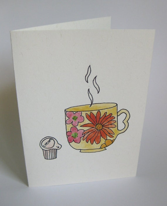 Anniversary/I Love You/Valentine's Day Greeting Card - Handmade and printed from original ink and gouache illustration