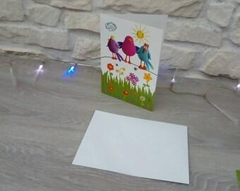 Carte et enveloppe representant des oiseaux