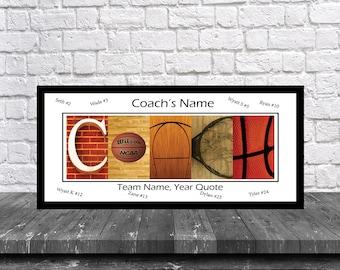 Basketball Coach Team Signature Print - Basketball Coach Team Gift - Basketball Coach Gift - Best Coach Gift - Coach Print -Basketball Coach