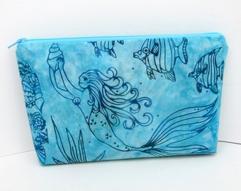 Mermaid Make Up Bag, Cosmetic Zipper Pouch, Mermaid Batik, Turquoise Blue, OceanPatch