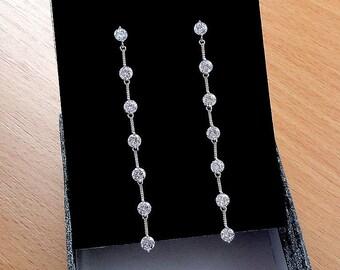 Long Dangle earrings Crystal Drop earrings Bridal earrings Wedding earrings Jewelry gift Silver earrings Statement earrings Teardrop earring