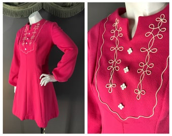 60s dress 1960s vintage PINK BISHOP SLEEVE embroidery white flower button fit and flare mod dolly dress