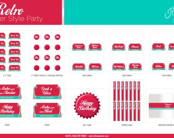 Retro Diner Party Set - INSTANT DOWNLOAD - Printable Birthday Decorations