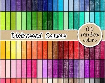 SALE 100 distressed painted canvas digital paper shabby rainbow scrapbooking kit pattern printable 12x12 pastel neutral bright dark colors