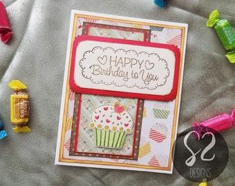 Handmade Cupcake Happy Birthday Card