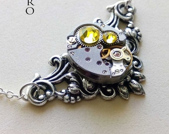 "Victorian  steampunk  necklace  ""Splendour"" yellow - steampunk jewellery - steampunk necklace  - Christmas gift"
