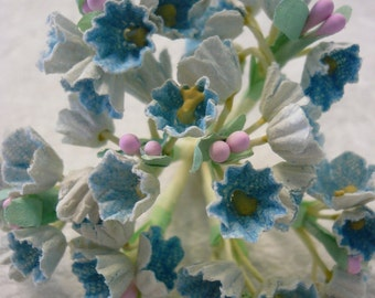 Vintage Flocked Blue Posies