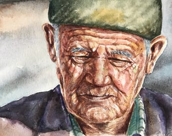 Watercolor portrait,original portrait,old man art,small portrait