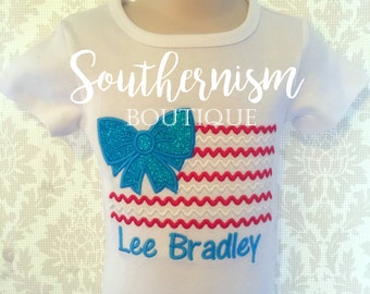 Girls July 4th shirt, 4th of July, Patriotic, Military coming home, Flag shirt, Patriotic girl shirt, boutique shirt, personalized, monogram