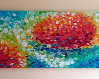 """48""""24"""" Acrylic Green and Red Landscape Large Original Impasto Abstract Tree Painting Modern Textured Palette Knife by Petya Mollova"""