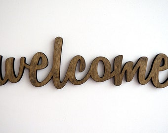Welcome front door sign, welcome wood sign, home decor, entrance door, door sign, front door decor