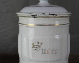 French Enamel Sucre Jar
