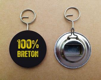 """Key ring bottle opener """"100% Breton"""""""
