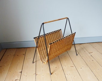 Vintage newspaper stands, magazine racks with basket braid, storage for magazines, vintage of the 50s-60s