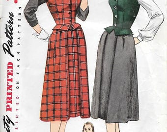 Simplicity 3652 1950s Weskit and Skirt Vintage Sewing Pattern Bust 33 Peplum Vest Flared Skirt