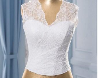 Corset Wedding Separate, White wedding Corset Lace corset neckline white wedding top Bridal top separate Wedding bodice corset  wedding  top