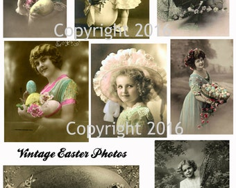 Printable Victorian Easter Photos Collage Sheet. #101 Instant Digital Download, Easter Scrapbooking, Altered Art