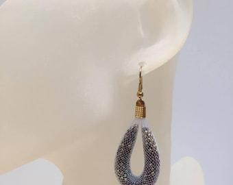 Pearlescent white NET earrings golden brown