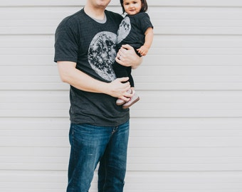 Dad and Baby Matching Shirts, Moon Tshirt Set, Matching Tees Father Daughter or Son, New Dad and Kids Fathers Day Gift