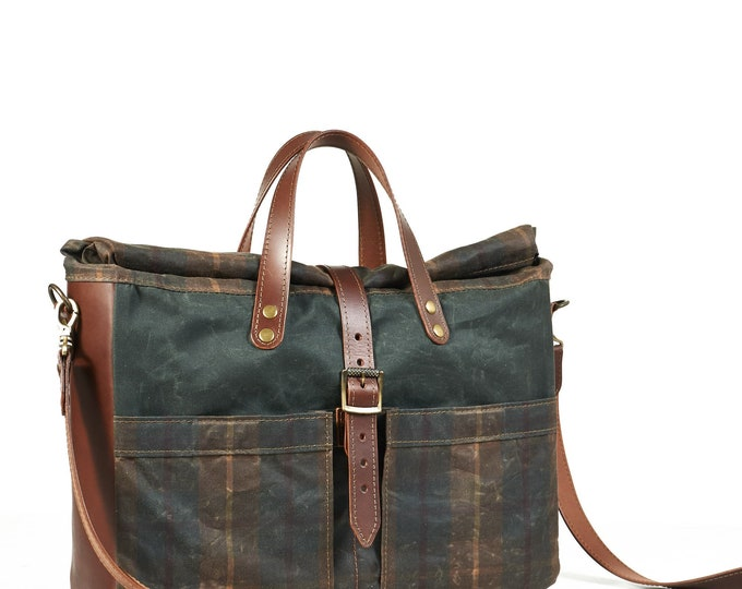 """Waxed canvas and leather briefcase for 15"""" laptop."""