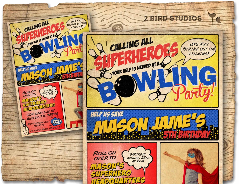 Superhero bowling party invitation bowling birthday and