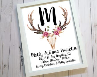 Antlers/Flowers Name/Birth Stat Girl Nursery Room/Invitations/ Weddings/Couples/Family Household Frame Decor