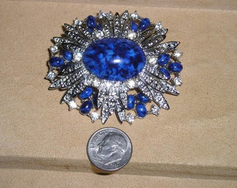 Vintage Sarah Coventry Faux Turquoise Rhinestone Brooch 1960's Signed Jewelry 2217